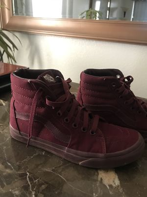 06623964a3 All burgundy high top vans 6.0 mes 7.5 women s for Sale in Glendale