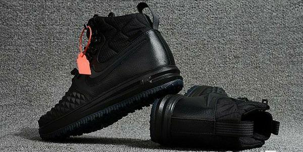 huge selection of 9510d cf843 Mens Womens Nike Lunar Force 1 Duckboot 17 KPU Running Shoes Triple Black  NIKE-ND001937