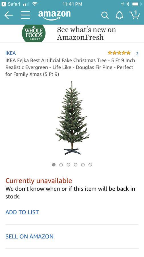 NEW IKEA Fejka Fake 6' Christmas Tree