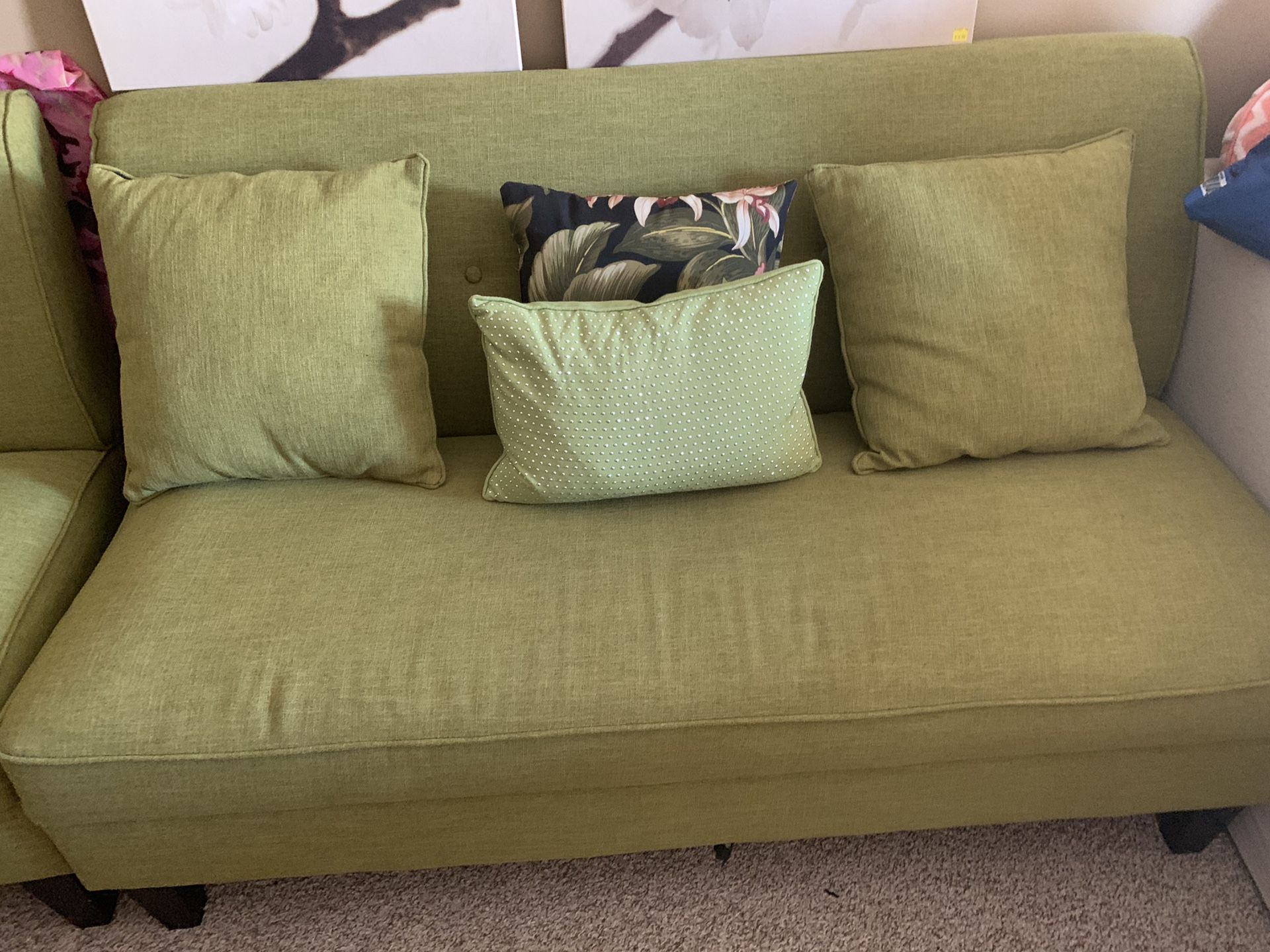 Tropical green sofa with matching chair and throw pillows