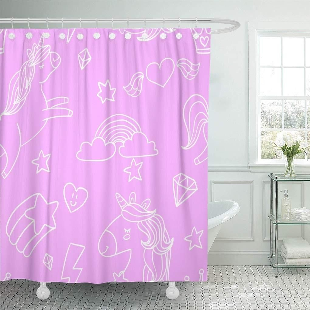 Colorful Abstract Cute Sketch Doodle Outlined on Pink Shower Curtain 66x72 inch