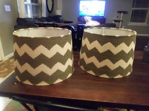 2 lampshades chevron like new never used for Sale in Lillington, NC