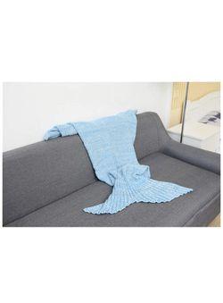 Brand new Mermaid Tail Blanket for Adult, Light Blue Thumbnail