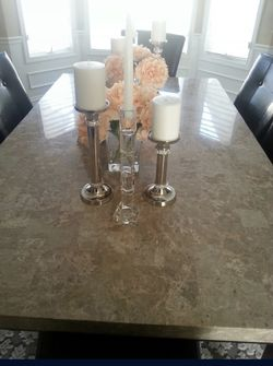 7-piece Dining Table - Marble Top - Espresso  Thumbnail