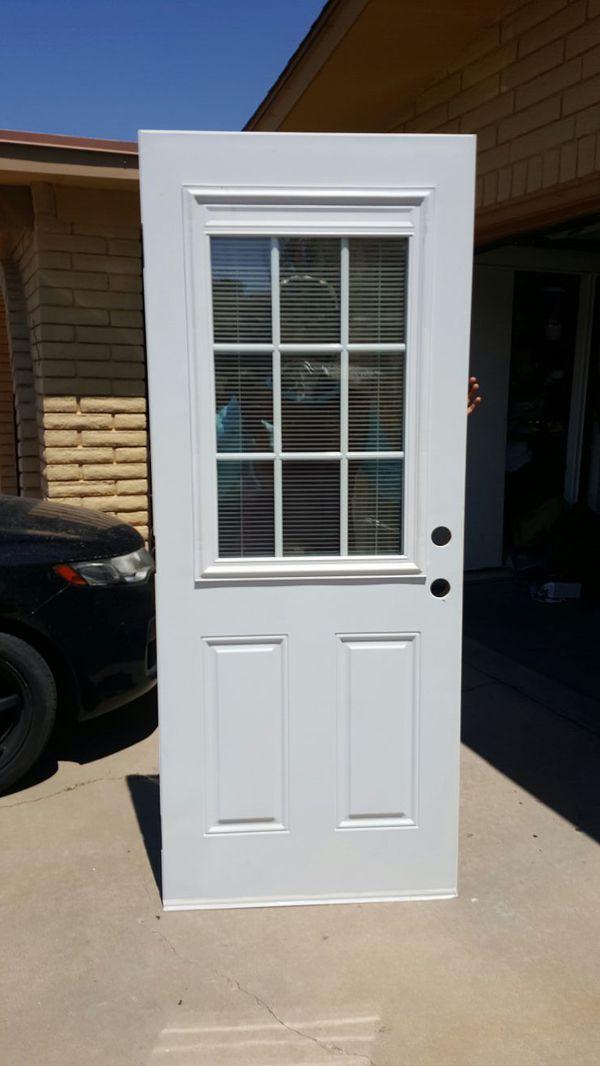 32 X 78 Exterior Metal Door Slab With Miniblinds Between Glass