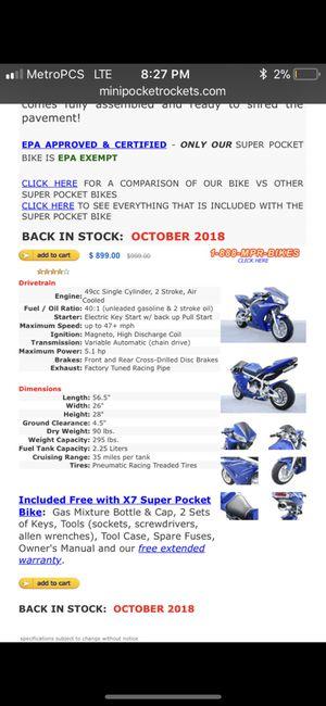 X7 pocket bike for Sale in Cranston, RI - OfferUp