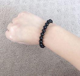 Natural Black Crystal Beads Charm Bracelet Thumbnail