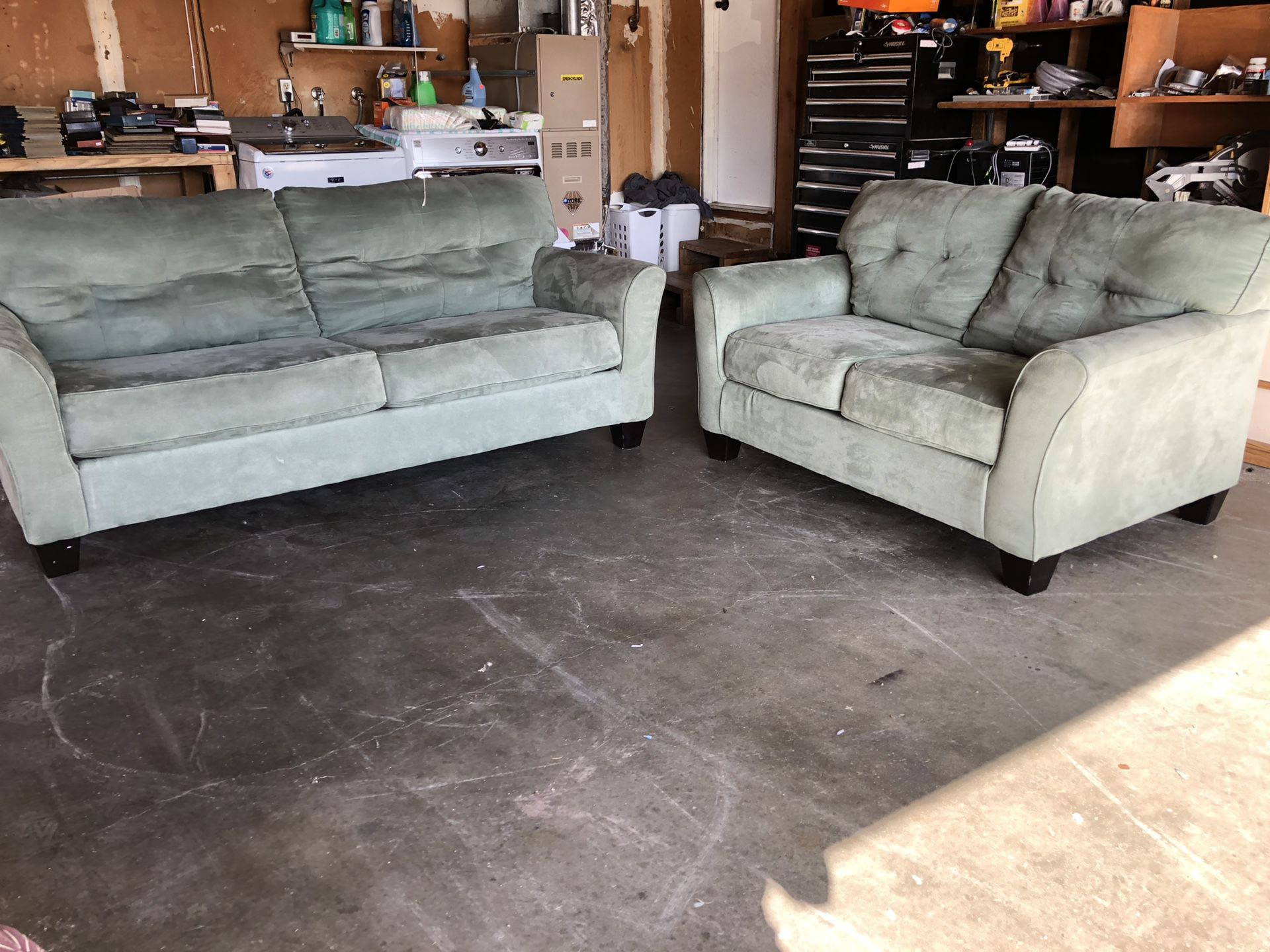 Gorgeous seafoam colored couch & loveseat
