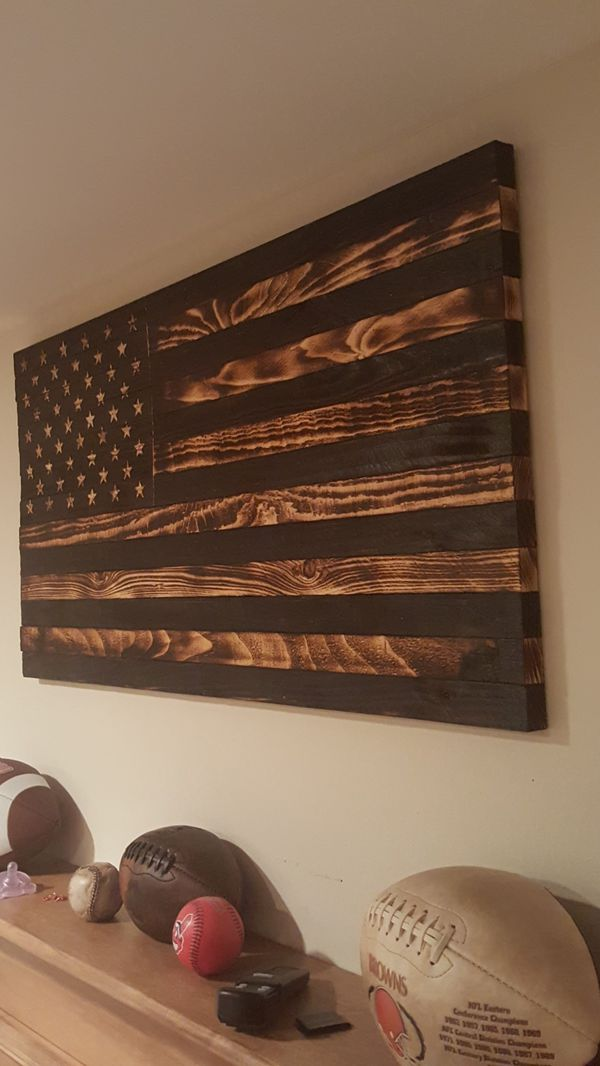 Rustic Burnt Wooden American Flag For Sale In Cottage Grove MN