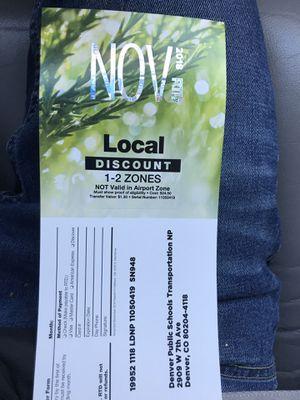 November bus pass for Sale in Denver, CO