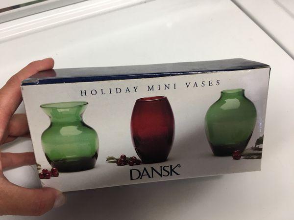 Brand New Dansk Mini Holiday Christmas Vase Set For Sale In San