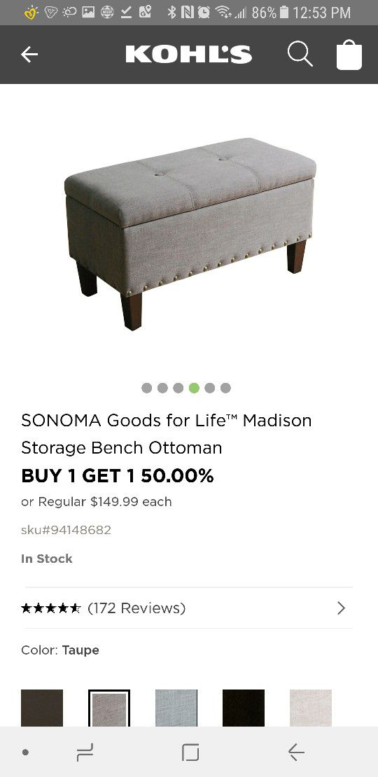 Fine Sonoma Madison Storage Bench Ottoman For Sale In Parkersburg Ncnpc Chair Design For Home Ncnpcorg
