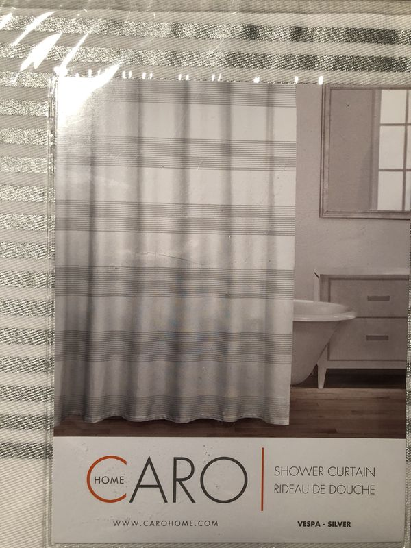 New Silver Gray Stripe Fabric Shower Curtain 72x72 By Caro Home 100 Cotton For Sale In Brentwood TN