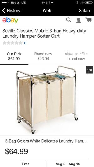 New in box Seville Classics SHE16166 3G-Bag Laundry Sorter for Sale in Falls Church, VA
