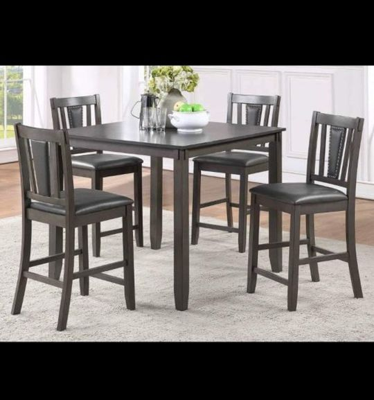 """Gray Counter Height Dining Table Set With 4 Chairs 42x42x36 """""""