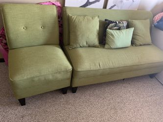 Tropical green sofa with matching chair and throw pillows Thumbnail