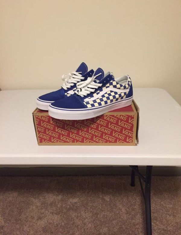Old skool checkerboard blue vans for Sale in Garner d35ccad7c