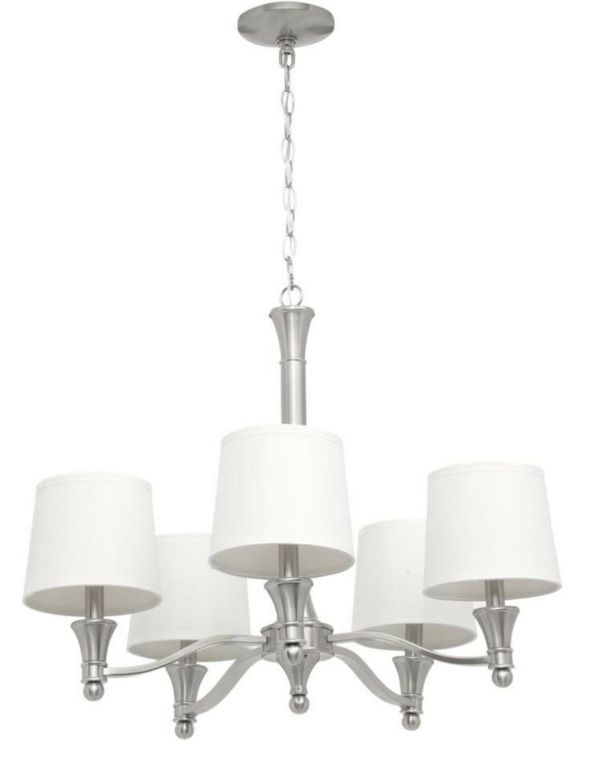 5 Light Brushed Nickel Chandelier With White Fabric Shades For In Chula Vista Ca Offerup