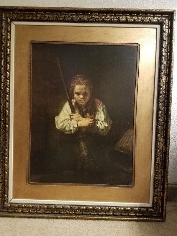 Pretty Wall Picture Girl With A Broom By Rembrandt Household In