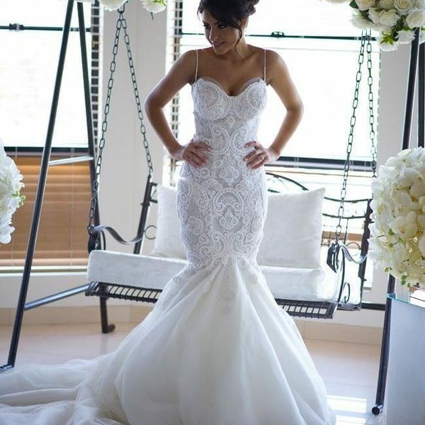 Spaghetti Strap Elegant Lace Mermaid Wedding Dress For Sale In
