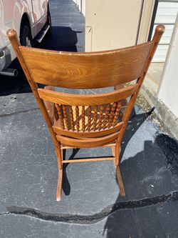 Vintage Wood And Cane Rocking Chair From 1940's Thumbnail