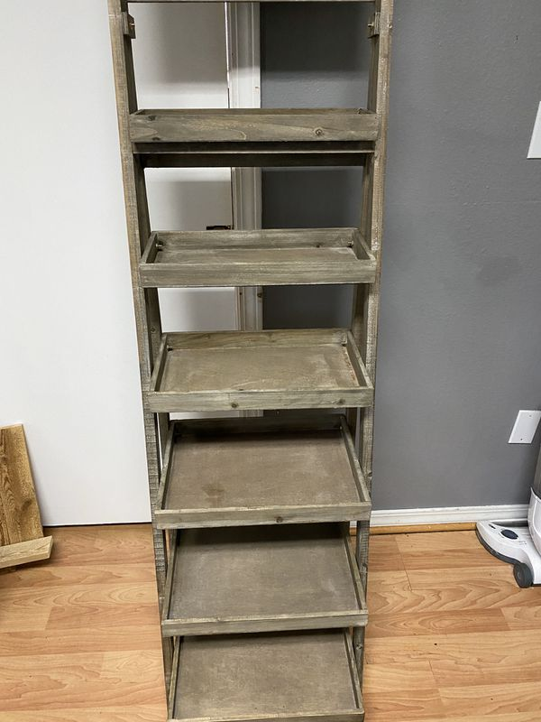 Stair Type Shelf Unit With Chalk Board On Top For Sale In