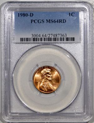 Photo 1980-D Lincoln Cent PCGS MS-64 RED