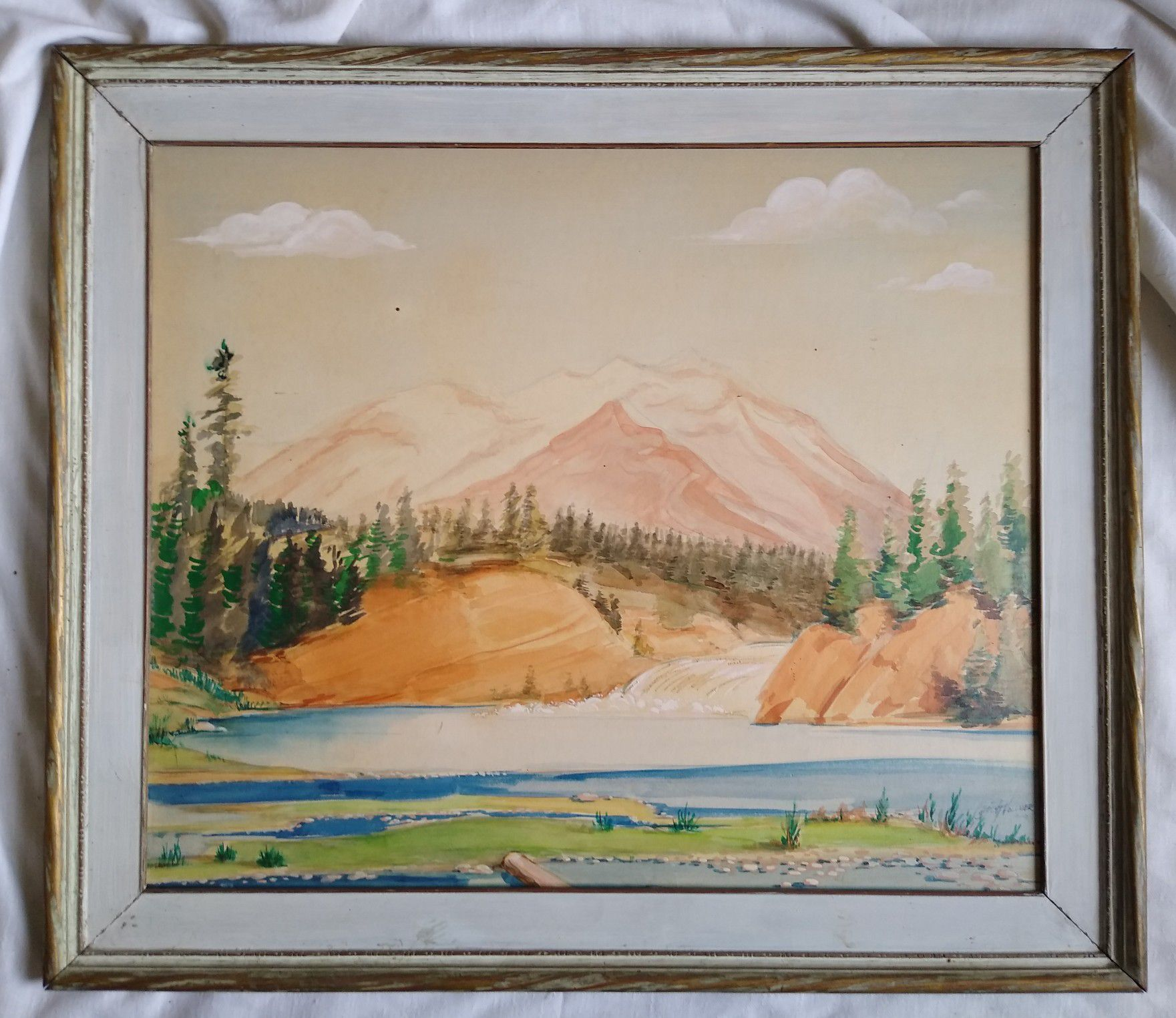 A vintage Mid-century Mod mixed media Mountain landscape Painting by y Carl H. Vollmer dated 1949