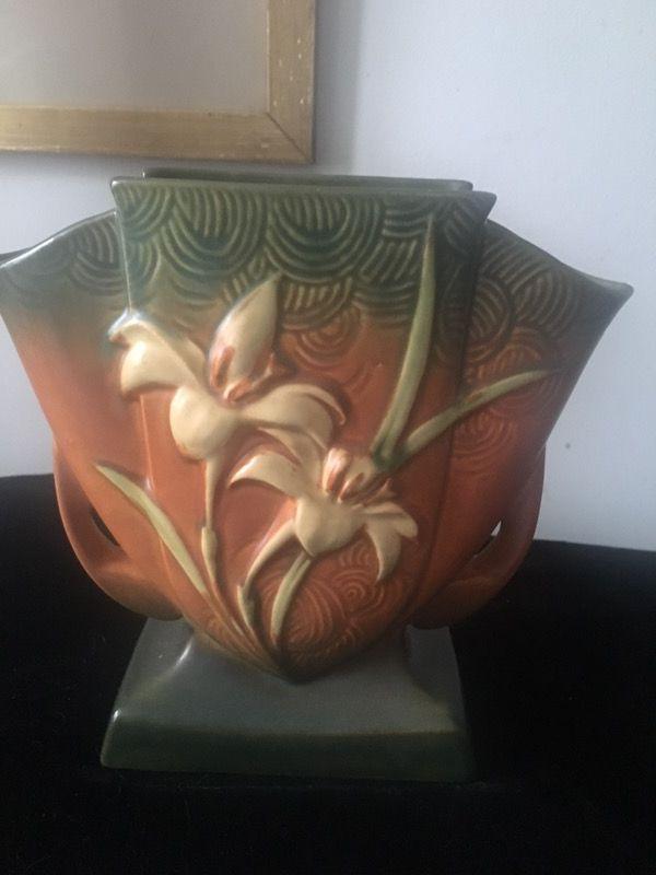 Vtg Roseville Zephyr Lilly Pottery Vase 206 7 Collectibles In