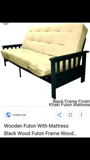 Black Metal And Wood Futon With