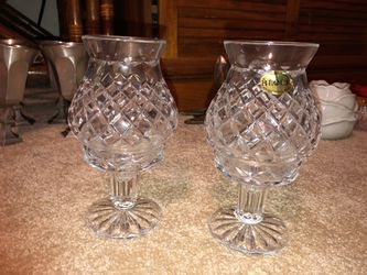 """Block 2, 8"""" Tall Mouth Blown Hand Cut 24% Lead Crystal Votive Hurricane Candle Holders on Pedestals, Art Thumbnail"""