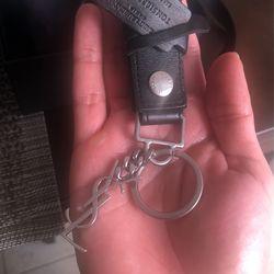 Saint Laurent Silver Leather KeyChain  Thumbnail