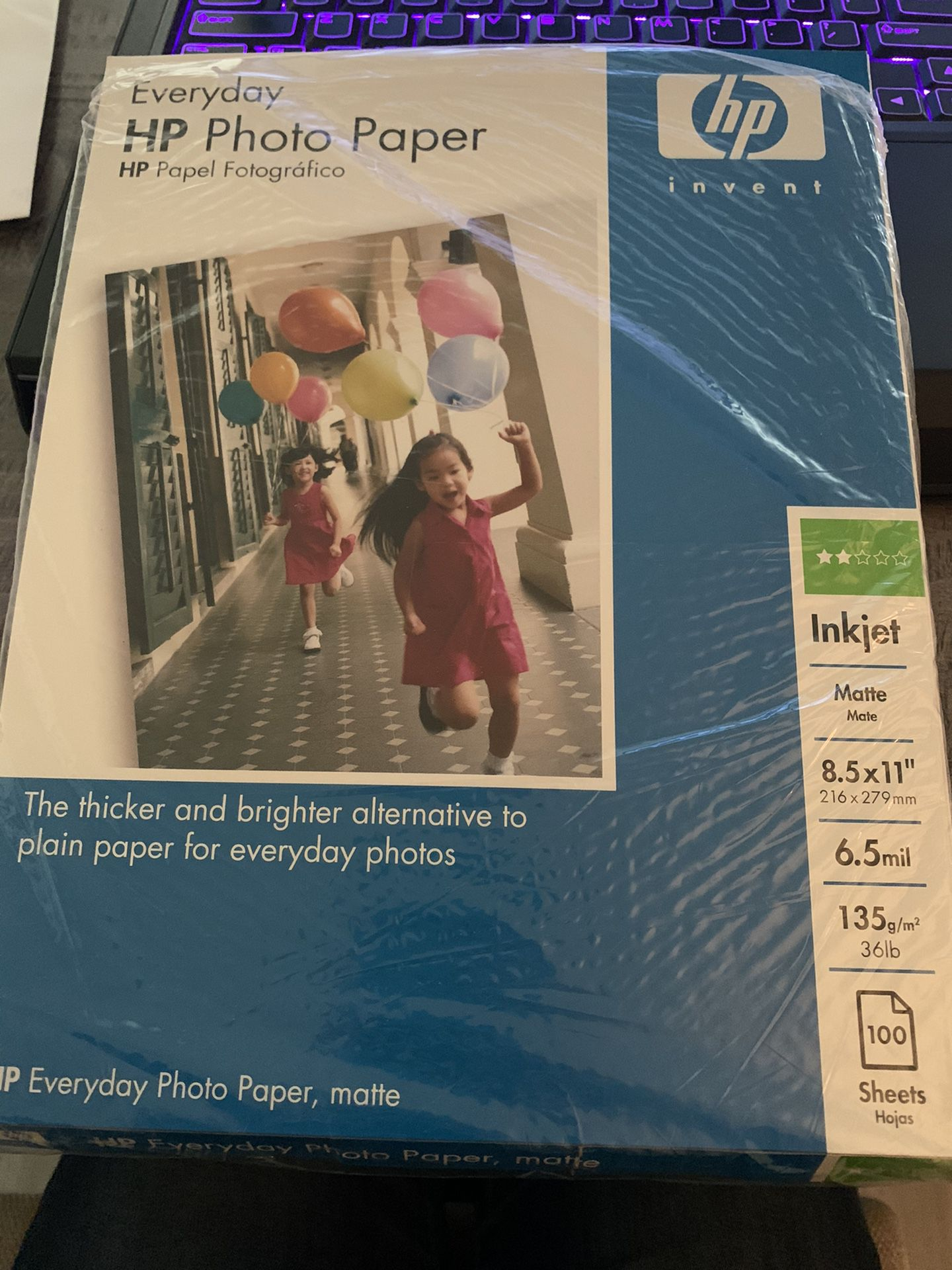 HP photo paper- 100 matte sheets