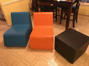 Modern kids dense foam chairs and table/ottoman for Sale in Richmond, VA