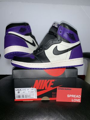 best service 9bff2 2924e Nike Air Jordan Retro 1 Court Purple Grape AJ1 Lakers for Sale in Cranston,  RI - OfferUp