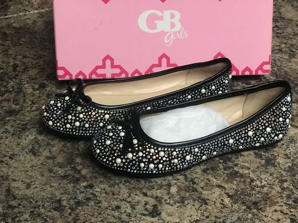 09aa4b46b GB Girls Dazzle-Girl Rhinestone and Pearl Detail Black Ballet Flats ...