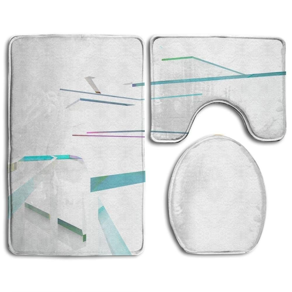 Abstract Architectural Interior Sculpture Geometric Glass Lines 3 Piece Bathroom Rugs Set Bath Rug Contour Mat and