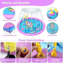 Splash Pad ,68 Inch Sprinkler Splash Pad Toys for Dogs and Kids, Inflatable Kids Sprinkler Play Mat with Funny Ring Toss Game, Summer Outdoor Water To Thumbnail