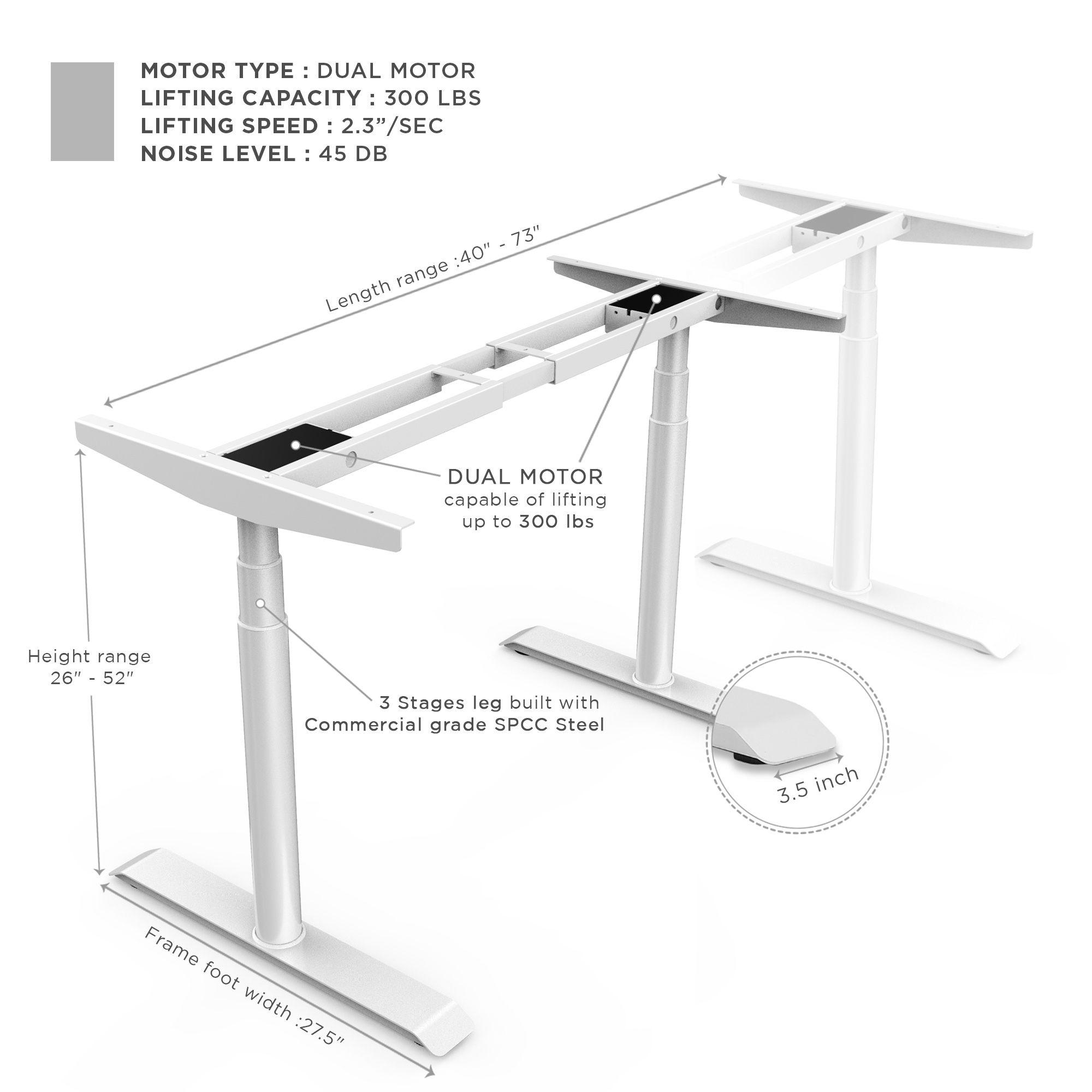 Studione Standing Desk White Frame Only