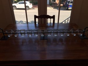 Mantle candle display with 12 glass candle holders for Sale in Washington, DC