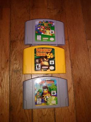 Super Mario 64 donkey Kong 64 Diddy Kong racing nintendo 64 games for Sale in MONTGOMRY VLG, MD