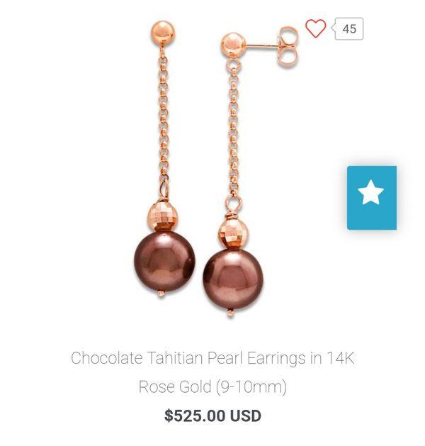 Chocolate Tahitian Pearl Earrings 14k Rose Gold For In Kailua Hi Offerup