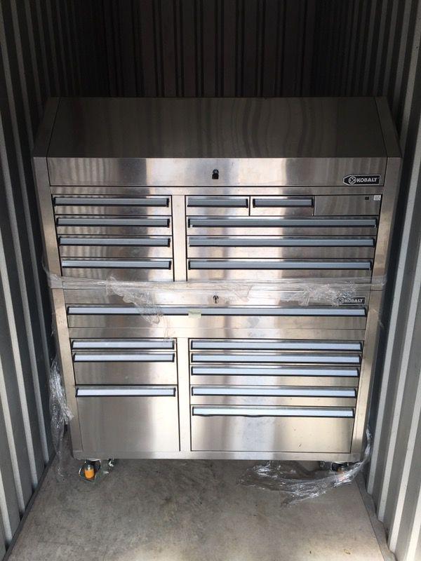 Kobalt Tool Cabinet >> Kobalt 68.7-in x 53-in 18-Drawer Ball-Bearing Stainless Steel Tool Cabinet for Sale in Orlando ...