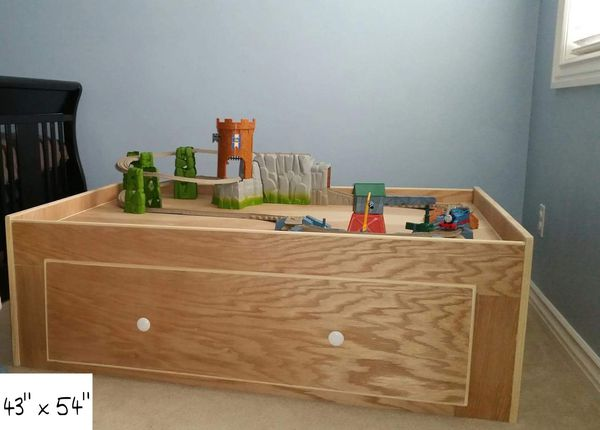 Custom Made Train Table With Thomas Train Set Included for Sale in ...