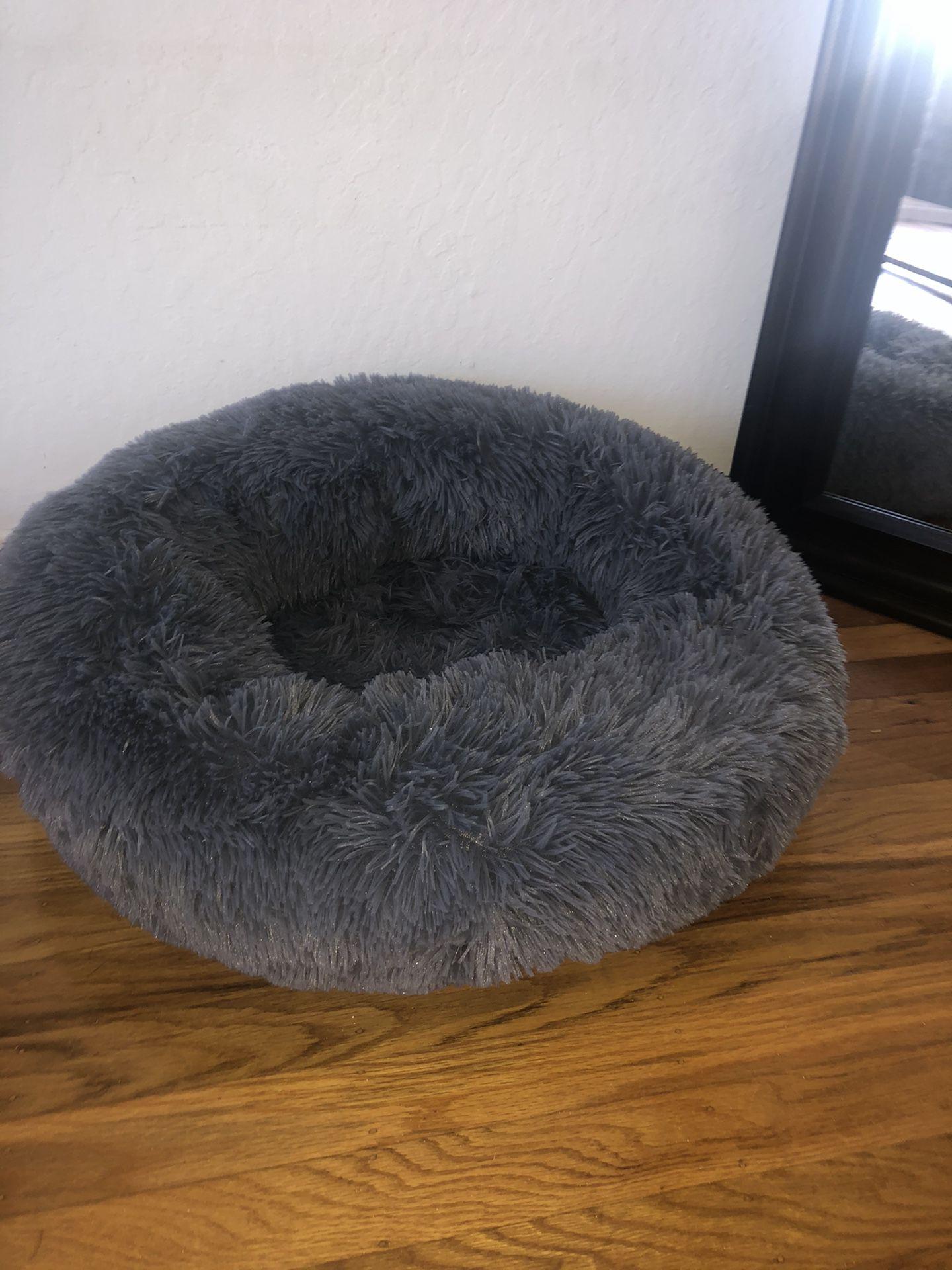 Round Calming Grey Pet Bed