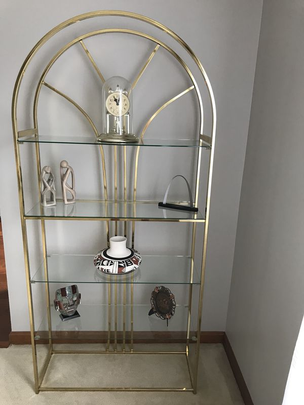 2 Decorative Art Display Cases With 4 Glass Shelves For Sale In