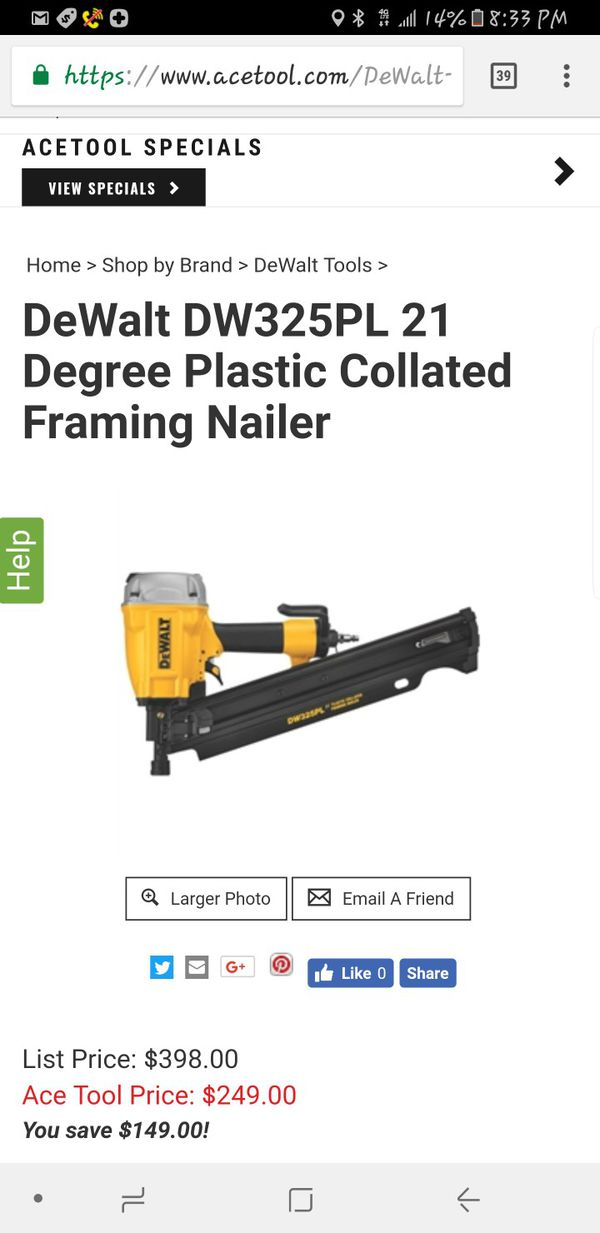 DeWalt DW325PL 21 Degree Plastic Collated Framing Nailer, Retail ...