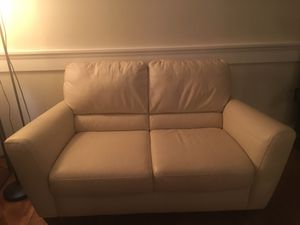 Macy's white love seat leather for Sale in Fairfax Station, VA