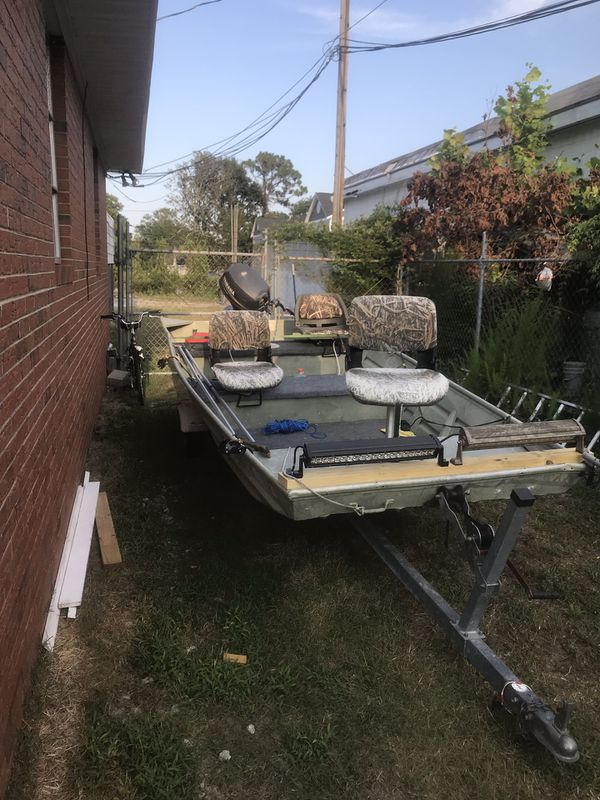 14 foot double wide john boat w/ a 2008 15hp yamaha 4 stroke engine