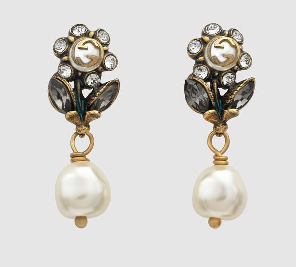 5ddd4009fde GUCCI Daisy Pearl and Crystal drop earrings for Sale in Philadelphia ...